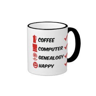 Genealogía del ordenador del café feliz tazas de café