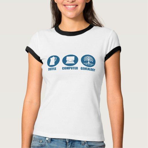 Genealogía del ordenador del café t-shirt
