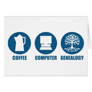 Genealogía del ordenador del café tarjeta de felicitación