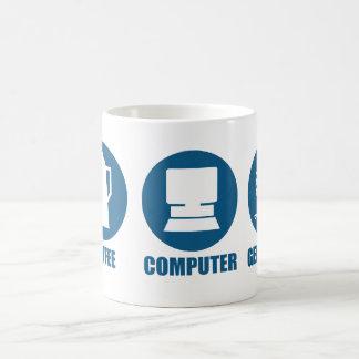 Genealogía del ordenador del café taza básica blanca