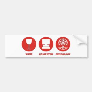 Genealogía del ordenador del vino pegatina de parachoque