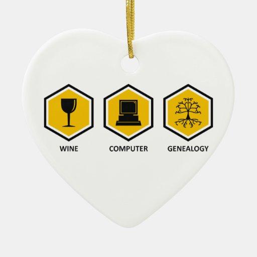 Genealogía del ordenador del vino adorno de cerámica en forma de corazón