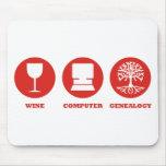 Genealogía del ordenador del vino alfombrilla de ratones