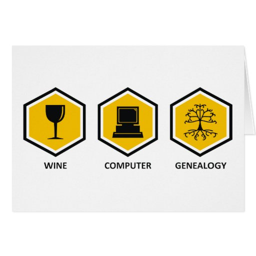 Genealogía del ordenador del vino tarjeta de felicitación