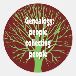 Genealogía: Gente que recoge a gente Pegatina Redonda