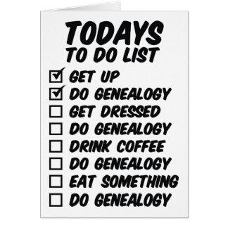 Genealogía para hacer la lista tarjeta de felicitación