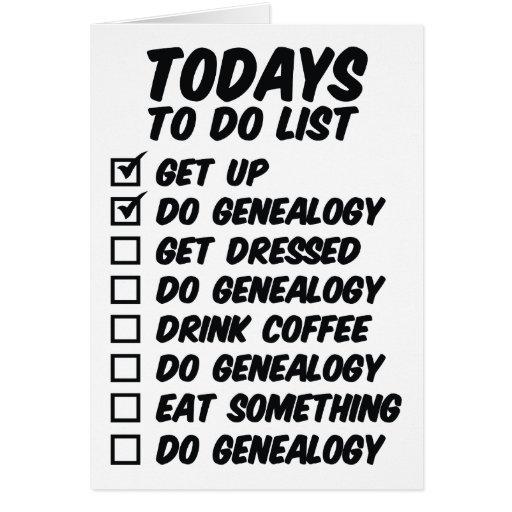 Genealogía para hacer la lista tarjeton