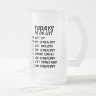 Genealogía para hacer la lista taza cristal mate