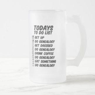 Genealogía para hacer la lista taza de cristal