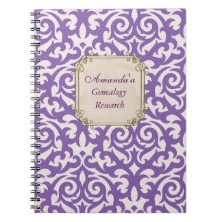 Genealogía púrpura elegante del damasco libros de apuntes
