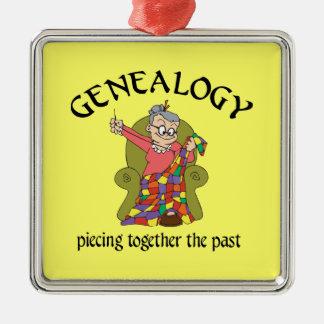 Genealogía que junta el último ornamento adorno navideño cuadrado de metal