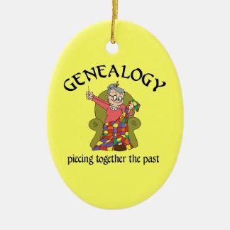 Genealogía que junta el último ornamento adorno navideño ovalado de cerámica