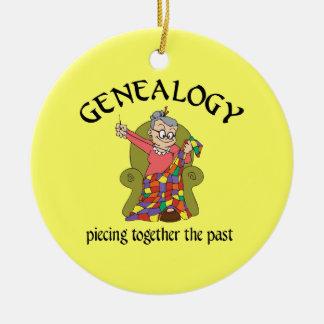 Genealogía que junta el último ornamento adorno navideño redondo de cerámica
