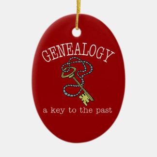 Genealogía una llave al último ornamento adorno navideño ovalado de cerámica