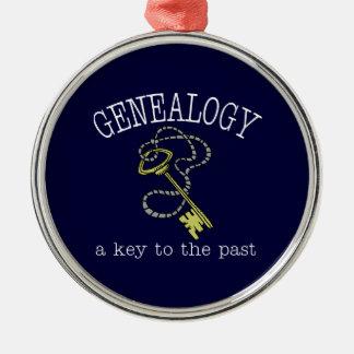 Genealogía una llave al último ornamento adorno navideño redondo de metal