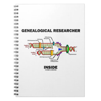 Genealogical Researcher Inside DNA Replication Spiral Notebooks