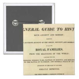 Genealógico completo de la página de título, histó pin cuadrada 5 cm