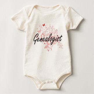 Genealogist Artistic Job Design with Butterflies Baby Bodysuit