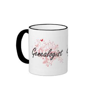 Genealogist Artistic Job Design with Butterflies Ringer Mug