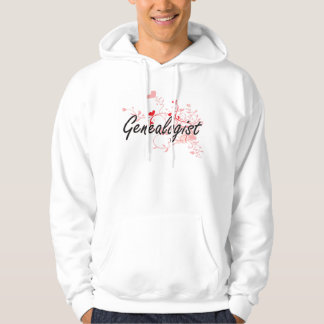 Genealogist Artistic Job Design with Hearts Hooded Pullovers