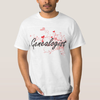 Genealogist Artistic Job Design with Hearts Tees