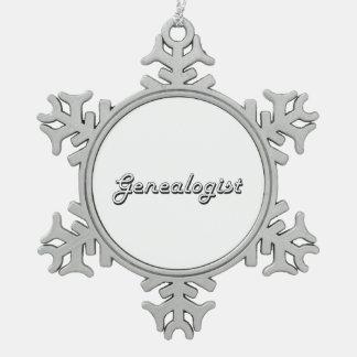 Genealogist Classic Job Design Snowflake Pewter Christmas Ornament
