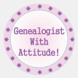 Genealogist con actitud etiqueta