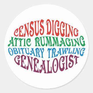 Genealogist de excavación del censo pegatinas redondas