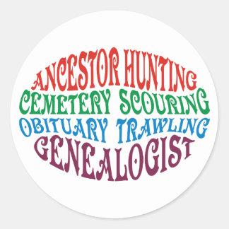 Genealogist de la caza del antepasado pegatina redonda
