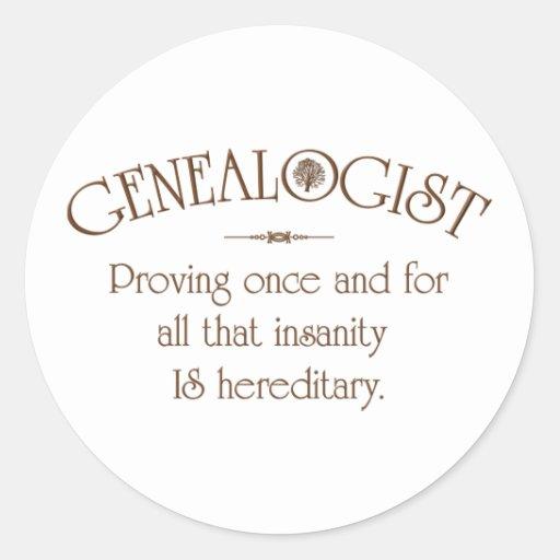 GENEALOGIST.. ROUND STICKERS