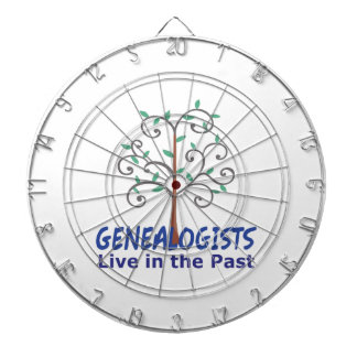 GENEALOGISTS LIVE IN THE PAST DARTBOARD WITH DARTS