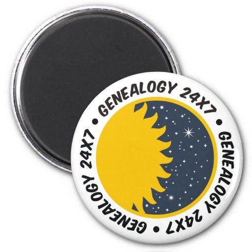 Genealogy 24x7 2 inch round magnet
