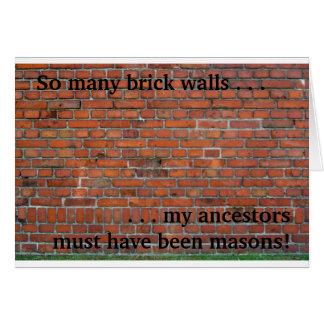 "Genealogy ""Brick Wall"" note card"