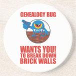 Genealogy Bug Breaks Walls Drink Coaster