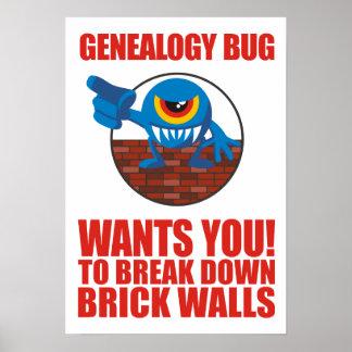 Genealogy Bug Breaks Walls Poster