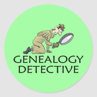Genealogy Detective Classic Round Sticker