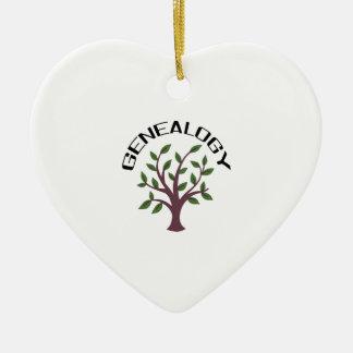 Genealogy Double-Sided Heart Ceramic Christmas Ornament