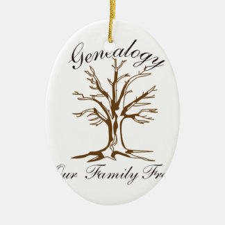 Genealogy Double-Sided Oval Ceramic Christmas Ornament