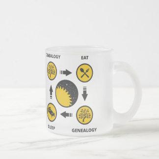 Genealogy. Eat. Genealogy. Sleep. 10 Oz Frosted Glass Coffee Mug