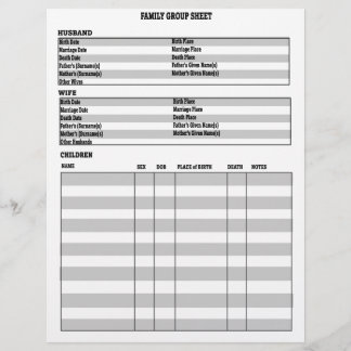 Genealogy Family Group Sheet