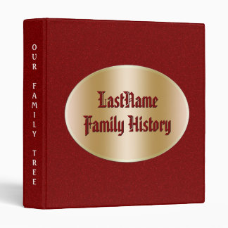 Genealogy Family History Gold Red Faux Glitter 3 Ring Binder