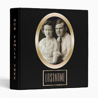 Genealogy Family Tree | Custom Photo Black Gold Binder