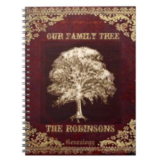 Genealogy Family Tree Gold Vintage Look Notebook