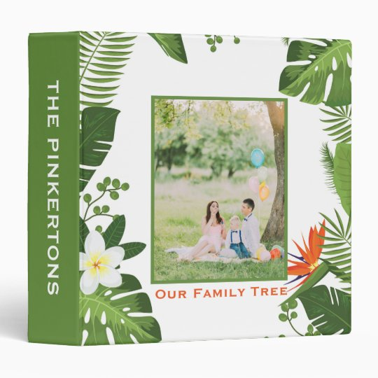 Genealogy Family Tree Tropical Palm Leaves Photo 3 Ring