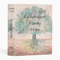 Genealogy Family Tree Watercolor Mini Binder