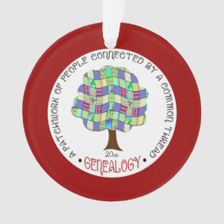 Genealogy Holiday Patchwork Tree Ornament