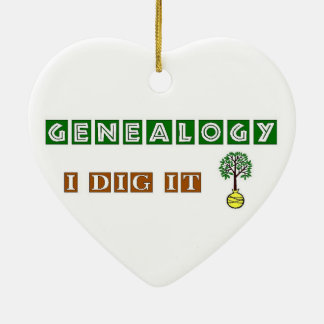 Genealogy I Dig It Double-Sided Heart Ceramic Christmas Ornament