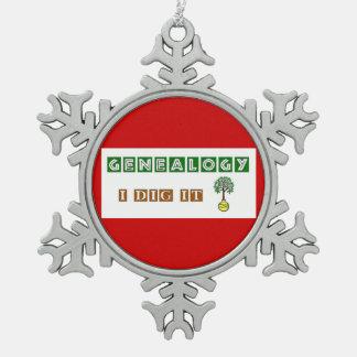 GENEALOGY I Dig It Snowflake Pewter Christmas Ornament