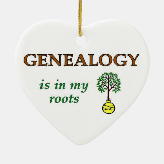 Genealogy In My Roots Double-Sided Heart Ceramic Christmas Ornament