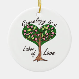 GENEALOGY LABOR OF LOVE Double-Sided CERAMIC ROUND CHRISTMAS ORNAMENT